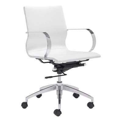 Zuo Modern White Glider Low Back Office Chair