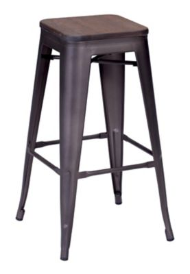 Zuo Modern Rustic Wood Marius Bar Stools Set of 2
