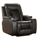 Home Solutions Ebony DuraBlend® Leather Power Home Theater Recliner