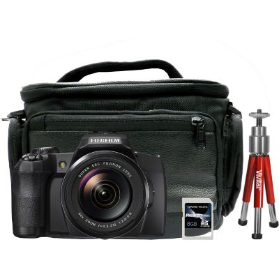 Fuji FinePix S1 16.4 Megapixel Digital Camera, 8GB SDHC Memory Card, Red Mini-Tripod and Camera Bag Set