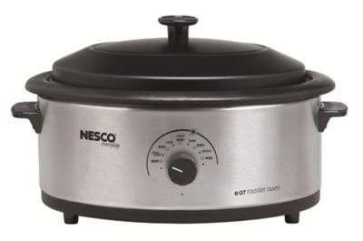 Nesco Stainless Steel 6-Quart Roaster Oven with Porcelain Cookwell