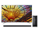 LG 49' 4K Ultra HD webOS 3.0 Smart TV with $100 Savings on 4.1-Channel Smart Soundbar and Wireless Subwoofer