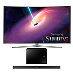 Samsung 55' Curved 4K SUHD 3D Smart TV with FREE 2.1-Channel Soundbar and Wireless Subwoofer
