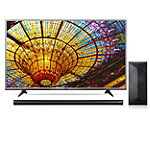 LG 55' 4K Ultra HD webOS 3.0 Smart TV with $100 Savings on 4.1-Channel Smart Soundbar and Wireless Subwoofer