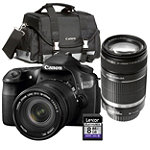 Canon EOS 18 Megapixel Digital SLR Camera with EF 18-135mm IS Lens, 55-250mm Zoom Lens, Gadget Bag and 8GB SD Card 1594.92