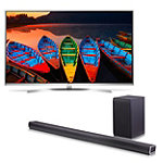 "Save $150 on LG 60"" 4K HDR Super Ultra HD 3D webOS 3.0 Smart TV and Soundbar with Wireless Subwoofer"