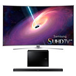 Samsung 65' Curved 4K SUHD 3D Smart TV with FREE 2.1-Channel Soundbar and Wireless Subwoofer
