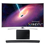 Samsung 65' Curved 4K SUHD 3D Smart TV with 8.1 Channel Curved Soundbar and Wireless Subwoofer