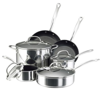Farberware Millennium 10-Piece Stainless Steel Nonstick Cookware Set