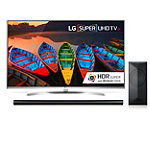 LG 75' 4K Super Ultra HD 3D webOS 3.0 HDR Smart TV with $100 Savings on 4.1-Channel Smart Soundbar and Wireless Subwoofer