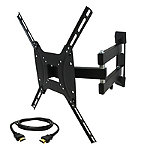 MegaMounts Full-Motion Wall Mount with Bubble Level and HDMI Cable for Most 26'-55' TVs