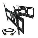 MegaMounts Full-Motion Wall Mount with Bubble Level and HDMI Cable for Most 32'-70' TVs