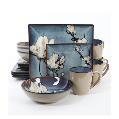 Gibson Bloomsbury 16 Piece Blue Flower Dinnerware Set