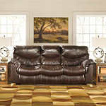 Home Solutions Coyan Brown Leather-Match Power Reclining Sofa No price available.
