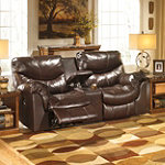 Home Solutions Coyan Brown Double Power Reclining Loveseat with Console