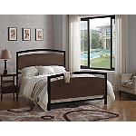 Bell'O Black Queen Metal Bed Frame with Cocoa Wood