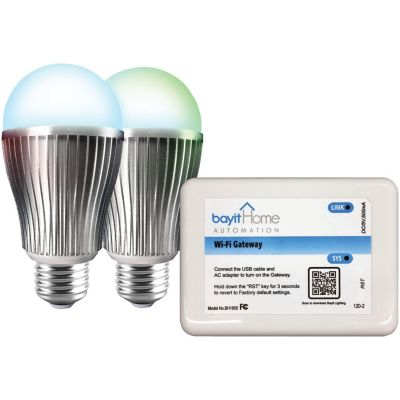 Bayit Home Automation LED Lighting Starter Kit with 2 LED Color-Changing Light Bulbs and Wi-Fi Gateway