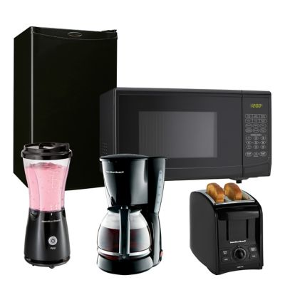 Danby Compact Refrigerator and Countertop Microwave Oven with Hamilton Beach Blender, Toaster & Coffee Maker