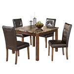 Home Solutions Faux Marble Top Table and Faux Leather Upholstered Chairs