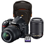 Nikon 14.2 Megapixel Digital SLR Camera with 18-55mm Zoom Lens, 55-200mm Zoom Lens, Case and 8GB SD Card 579.99
