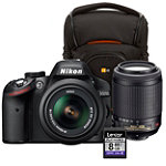 Nikon 24.2 Megapixel Digital SLR Camera with 2 Lenses, Camera Case and 8GB SD Card 1009.96