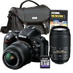 Nikon 24.1 Megapixel D-SLR Camera with 18-55mm VR Lens, 55-300mm Zoom Lens, Starter Kit and 8GB SD Card 1384.92