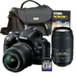 Nikon 24.1 Megapixel D-SLR Camera with 18-55mm VR Lens, 55-300mm Zoom Lens, Starter Kit and 8GB SD Card