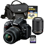 Nikon 24.1 Megapixel D-SLR Camera with 18-55mm VR Lens, 55-200mm VR Lens, Starter Kit and 8GB SD Card 1234.92