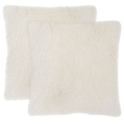 Safavieh White Natural Sheepskin Pillows Set of 2