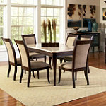 Steve Silver Elegant Dining with Moulin White Marble Table Top Group