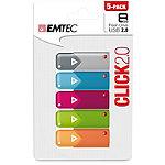 EMTEC 5-Pack 8GB Click USB 2.0 Flash Drive