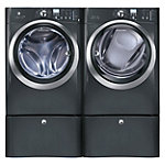 Electrolux 4.3 Cu. Ft. Titanium Front-Load Steam Washer and 8 Cu. Ft. Steam Gas Dryer with 2 Pedestals