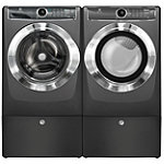 Electrolux 4.4 Cu. Ft. Titanium Perfect Steam™ Front-Load Washer and Perfect Steam™ Gas Dryer with 2 Pedestals