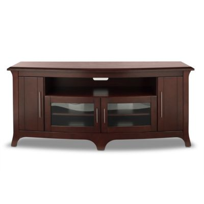 TechCraft Walnut Finish Wide, Curved Front Credenza for TVs Up to 70