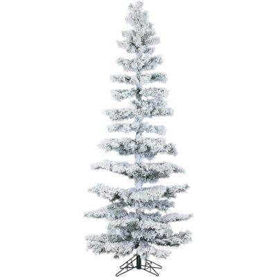 Fraser Hill Farm 7.5 Ft. Hillside Slim Pine Flocked Artificial Christmas Tree with Multi-Color LED Lighting
