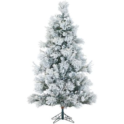 Fraser Hill Farm 7.5 Ft. Snowy Pine Flocked Artificial Christmas Tree with Multi-Color LED String Lighting