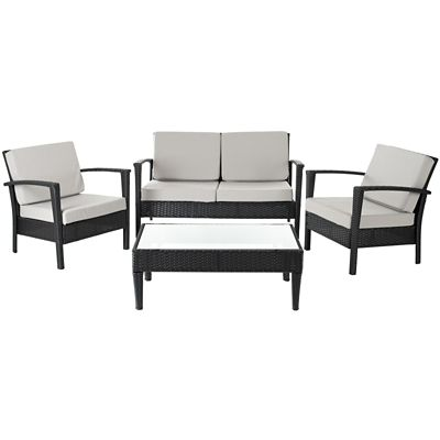 Safavieh Black/Grey 4-Piece Piscataway Patio Set