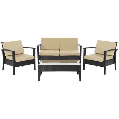 Safavieh Charcoal/Beige 4-Piece Piscataway Patio Set