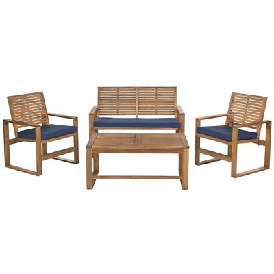 Safavieh Brown/Navy 4-Piece Ozark Patio Set