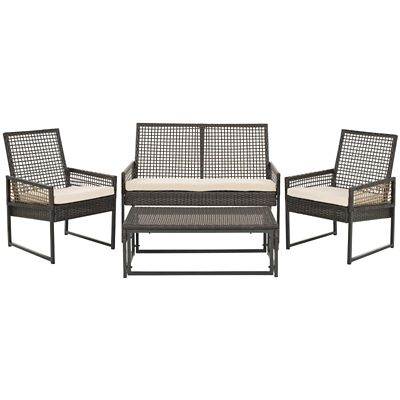 Safavieh Brown/Beige 4-Piece Shawmont Patio Set