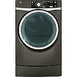 GE 8.3 Cu. Ft. Metallic Carbon Steam RightHeight™ Design Electric Dryer