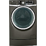 GE 4.8 Cu. Ft. Metallic Steam Front-Load Washer with RightHeight™ Built-in Pedestal