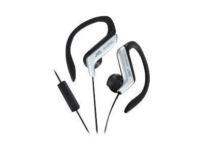 JVC Silver Sport Clip Headphones with Mic and Remote