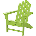 Hanover All-Weather Lime Contoured Adirondack Chair with Hideaway Ottoman