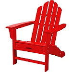 Hanover All-Weather Sunset Red Contoured Adirondack Chair with Hideaway Ottoman