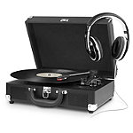 Innovative Technology Black Bluetooth Suitcase Turntable with Headphones