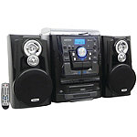Jensen 3-Speed Bluetooth Stereo Turntable Music System with CD Changer and Dual Cassette Deck