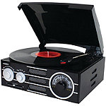 Jensen Black 3-Speed Stereo Turntable with AM/FM Stereo Radio
