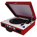 Jensen Red 3-Speed Portable Stereo Turntable with Built-In Speakers