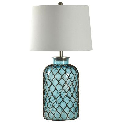 StyleCraft Seeded Glass and Netting Table Lamp